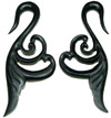 Fancy Horn Swan Hook Earrings, 1 gauge through 3 gauge (pair)