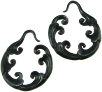 Large Gauge Fancy Horn Cloud Hoop Earrings