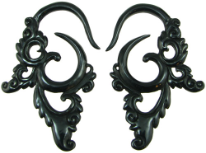Large Gauge Fancy Horn Hook Earrings