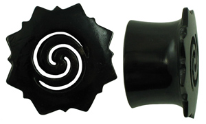 Hollow Horn Saddle Plugs, Borneo Dayak Flower Flares, cut-out Spiral Centers