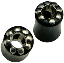 Hollow Horn Saddle Plugs, Silver Dots, Internal Eyelets, 0 gauge