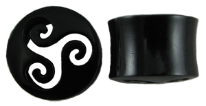 Hollow Horn Saddle Plugs, Cut-out Triskels