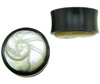1 inch Horn Saddle Plugs with Spiral Shell Carved Mother of Pearl Inlay