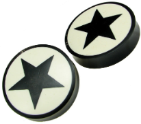 Horn Saddle Plugs, Black Stars, White Background, 1-7/8 inch