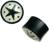 "Horn Saddle Plugs with Black Stars & Dots on White Background, 9/16"" through 1"" diameter (pair)"