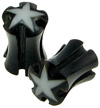 Horn Saddle Plugs with Holes and Stars, 2 gauge or 3 gauge (pair)
