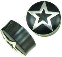 Horn Saddle Plugs, Silver Star Inlays