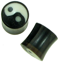 Horn Saddle Yin Yang Plugs, 3 gauge - 0 gauge