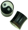 Horn Saddle Plugs with Yin Yang Inlays, 3 gauge - 0 gauge