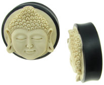 Ebony Wood Saddle Plugs, Bone Buddha Face Inlays, over 1 inch