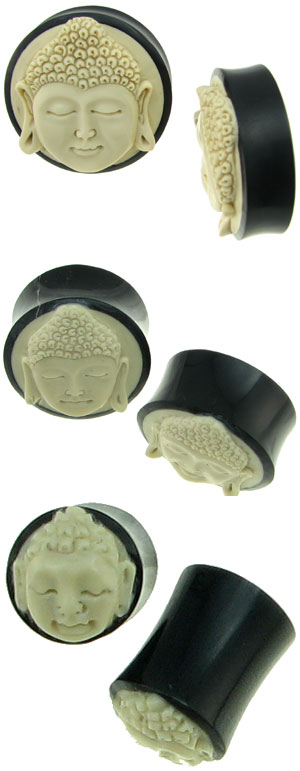 00 gauge, 1 inch and 2 inch Buddha Plugs (not shown to scale)