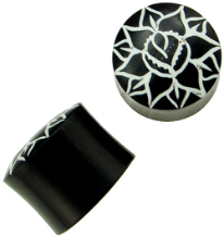 Horn Saddle Plugs, Painted Lotus, 9/16 inch