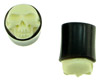 0 gauge Horn Saddle Plugs inlaid with Carved Bone Skull Face
