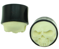 Bone Skull Face Saddle Plugs, Horn, Ebony, 0 gauge - 2 inch