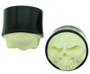 Horn Saddle Plugs inlaid with Carved Bone Skull Face, >3/4 inch diameter (pair)