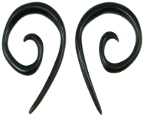 Large Gauge Pointy Horn Spiral Earrings
