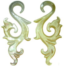 Mother of Pearl Shell Tall Fancy S Hook Earrings, 9 - 2 gauge