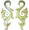 Mother of Pearl Shell Tall Fancy S Hook Earrings, 6 - 5 gauge