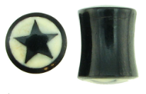 Large Gauge Horn Saddle Plugs, Black Star White Background