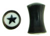 6 gauge Horn Saddle Plugs, Black Star White Background