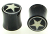 Horn Saddle Plugs with White Star / Circle Border Inlays, pair, 00 gauge