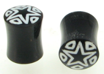 Large Gauge Horn Saddle Plugs, Star Triangle Inlays