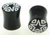 Horn Saddle Plugs with Star / Triangle Inlays, pair, 0 gauge and 00 gauge