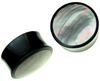 Horn Saddle Plugs with Iridescent Shell Inlays, pair, 1 inch diameter