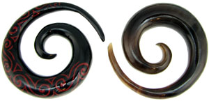Medium Horn Spirals with Red Tattoo Designs, 0 gauge or 00 gauge (pair) - minor quality issue