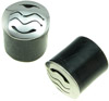 Silver Capped Horn Saddle Plugs, Water, 0 gauge - 5/8 inch