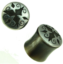 Silver Capped Horn Saddle Plugs, 3 Diamond Design, 9/16 inch