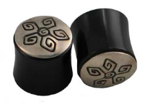 Silver Capped Horn Saddle Plugs, Angular Spirals, 5/8 inch