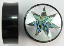 Horn Saddle Plugs, 7-Point Star Shell Inlays, 1-1/2 inch