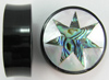 Horn Saddles with Abalone and Mother of Pearl Shell Inlays, 7 Point Star, pair, 1 1/2 inch diameter