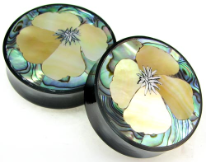 Horn Saddle Plugs, California Poppy Flower Shell Inlays, 1-3/4 inch