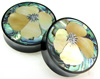 Horn Saddles with Abalone and Mother of Pearl Shell Inlays, California Poppy Flower, pair, 1 3/4 inch diameter