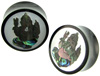 Horn Saddles with Abalone and Mother of Pearl Shell Inlays, Ganesha, pair, 1""