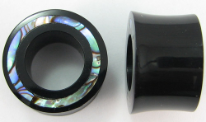 Hollow Horn Saddle Plugs, 2-sided Paua Abalone Shell Inlays