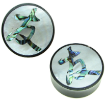 "Horn Saddle Plugs, Japanese Kanji Friendship Shell Inlays, 7/8"" - 1-1/2"""