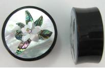 Horn Saddle Plugs, Magnolia Flower Shell Inlays, 1 inch