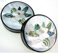 Horn Saddle Plugs, Magnolia Flower Shell Inlays, 2 inch