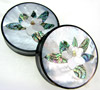 Horn Saddles with Abalone and Mother of Pearl Shell Inlays, Magnolia Flower, pair, 2 inch diameter