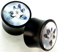 Horn Saddle Plugs, Magnolia Flower Shell Inlay, 7/8 inch