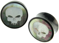 Horn Saddle Plugs, Shell Skull Face Inlays, 1 inch