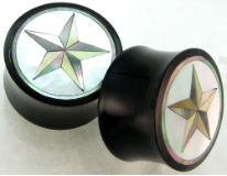 Horn Saddle Plugs, Shell Star Inlays, 7/8 inch