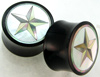 Horn Saddles with Mother of Pearl Shell Inlays, Star, pair, 7/8 inch diameter