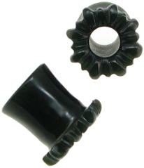 Black Jade Double-Flared Sunflower Plugs, 1/2 inch