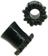 Black Jade Double-Flared Plugs with Sunflower Face, 1/2 inch diameter (pair)