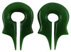 Green Jade Naga Ear Weights, pair, between 0 gauge and 00 gauge