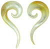 Golden & White 00 gauge Mother of Pearl Question Mark Spiral Earrings